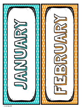 Months of the Year Labels Posters Polka Dot Theme