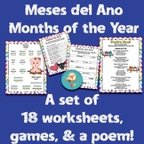 Months of the Year Meses del Año Spanish Lesson! 18 worksheets of activities!
