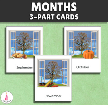 Months of the Year Montessori 3-part cards
