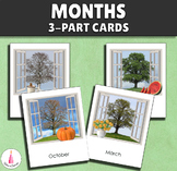 Months of the Year Montessori 3-part cards New Year's 2021