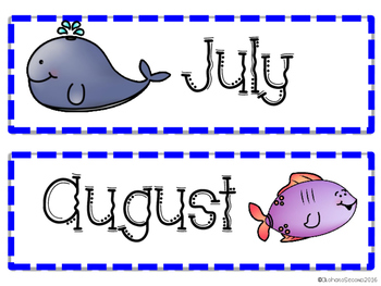 Months of the Year Ocean Theme