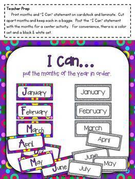 Months of the Year Ordering Activities for Primary Grades