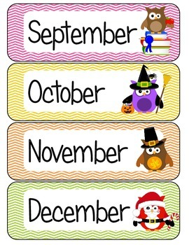 months of the year owl theme by justine greenlee tpt