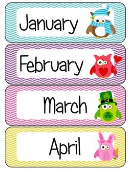 Months of the Year Owl Theme Free