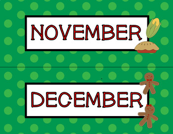 Months of the Year Polka Dot Headers ~ Calendar ~ Word Wall  ~ 6 colors!