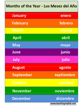 Months of the Year Poster - English / Spanish