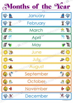 Months of the Year Poster - Northern Hemisphere