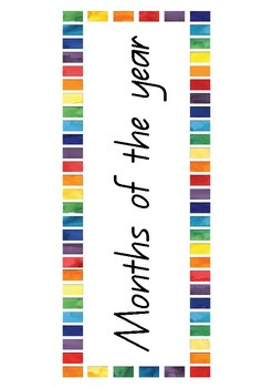 Months of the Year Posters - Queensland Beginners font (Rainbow border)