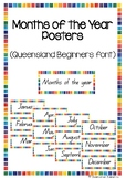 Months of the Year Posters - Queensland Beginners font (Ra