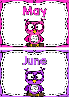 Months of the Year Posters - Rainbow Owls
