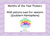 Months of the Year Posters with Seasons for Southern Hemisphere