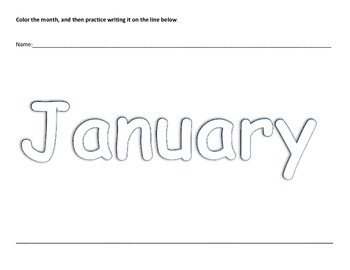 Months of the Year Preschool Coloring Writing Practice Worksheets K4 K5