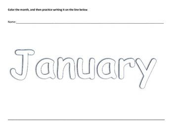 Months of the Year Preschool Coloring Writing Practice Worksheets K4 K5