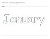 Months of the Year Preschool Coloring Writing Practice Wor