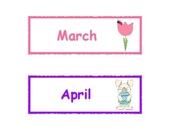 Months of the Year Printable Cards