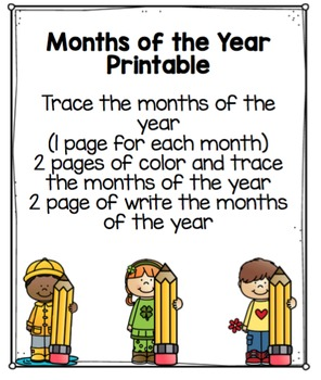 """Months of the Year Printable """"No Prep"""""""