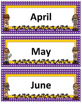 Months of the Year~ Purple Polka Dot with Gold Trim Detective