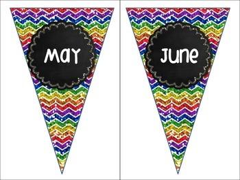 Months of the Year Rainbow Chalkboard Chevron Pennant Banners Birthday Calendar