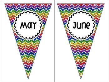Months of the Year Rainbow Chevron White Version Pennant Banners Calendar