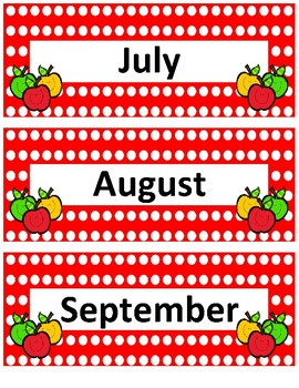 Months of the Year~ Red Polka Apple Buddies