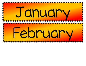 Months of the Year - Red and Gold