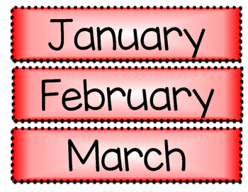 Months of the Year - Red and White