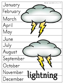 Months of the Year Sequencing Puzzles with Weather and Seasons Vocabulary