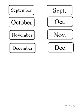 Months of the Year Short Forms