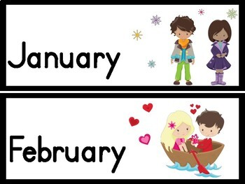 Names of the Months Posters and Signs for Word Walls