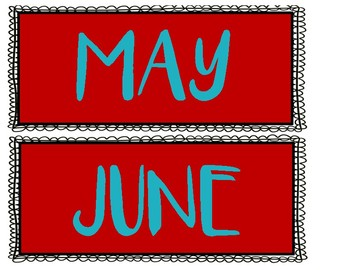 Months of the Year Signs - Red and Turquoise