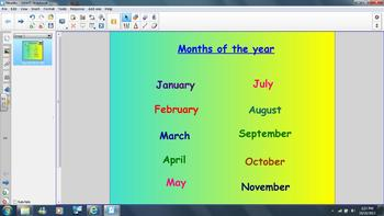 Months of the Year Smartboard or Interactive Whiteboard sh