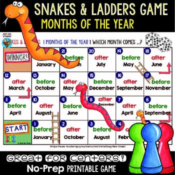 Months of the Year Snakes and Ladders Game
