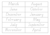 Months of the Year Sort Vic Cursive