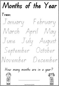 Months of the Year Worksheets QLD Beginners Font