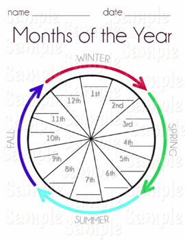 Months of the Year Worksheets--with Seasons and Ordinal Numbers