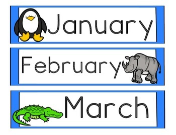 Months of the Year - Zoo Animals