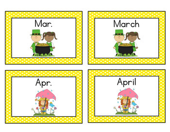 Months of the Year and Days of the Week Abbreviation Concentration