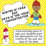 Months of the Year and Days of the Week Abbreviation Conce