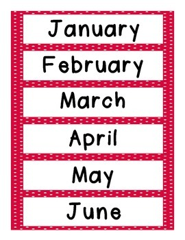 Months of the Year and Days of the Week Cards