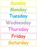 Months of the Year and Days of the Week Poster