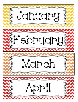 Months of the Year flashcards Chevron