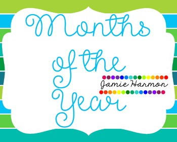 Months of the Year in Blues and Greens