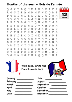 Months of the Year in French Word Search