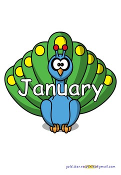 Months of the Year on Peacocks for Display