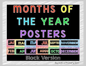 Months of the Year posters in black version in rainbow