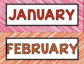 Months of the Year posters in white ink friendly version in rainbow