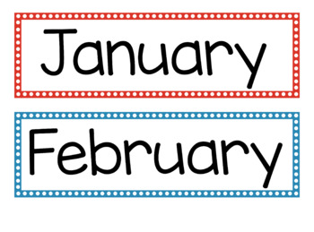 Months of the Year with Polka Dot Border