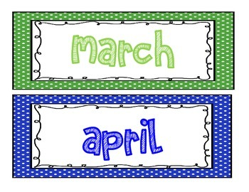 Months of the Year with Polka Dot Frame