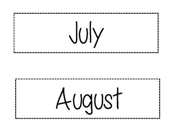 Months of the Year/Black & White