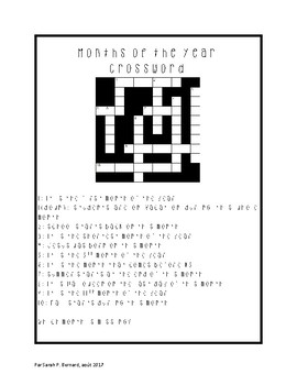 Months of the year + Comparative and superlative activity + Crossword